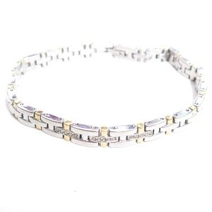 Stainless Steel Rhinestone Two toned Link Bracelet
